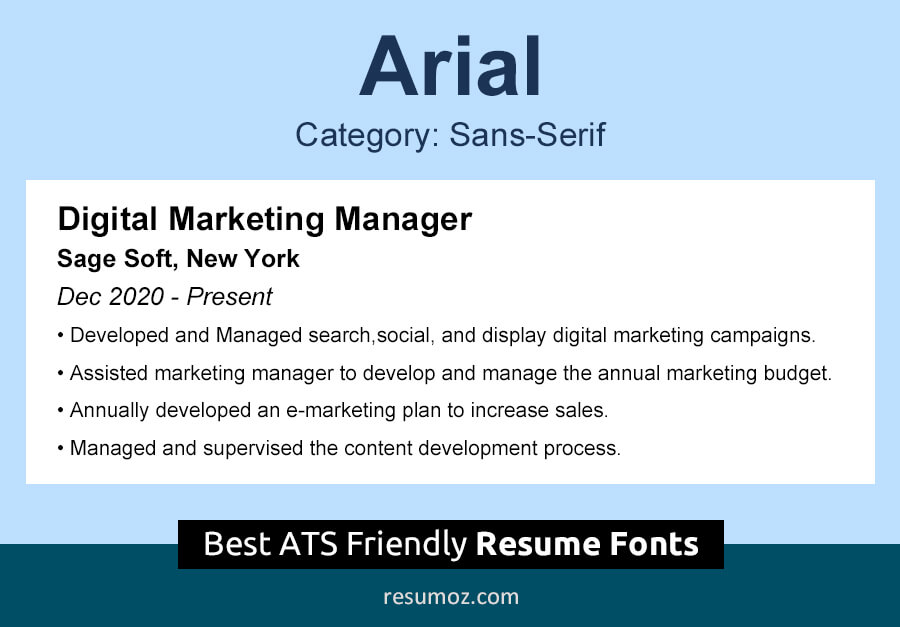 Arial Resume Font