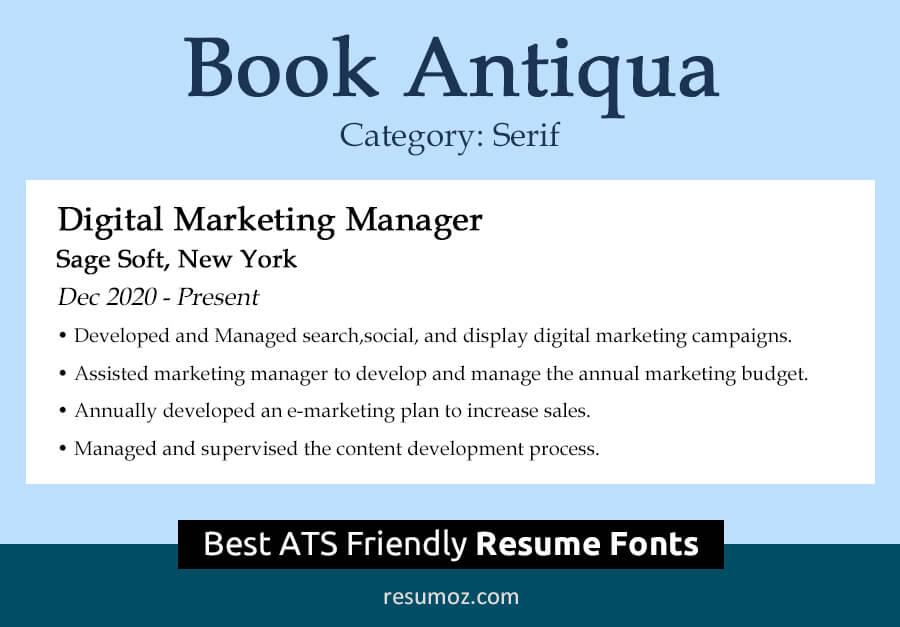 Book Antiqua Resume Font
