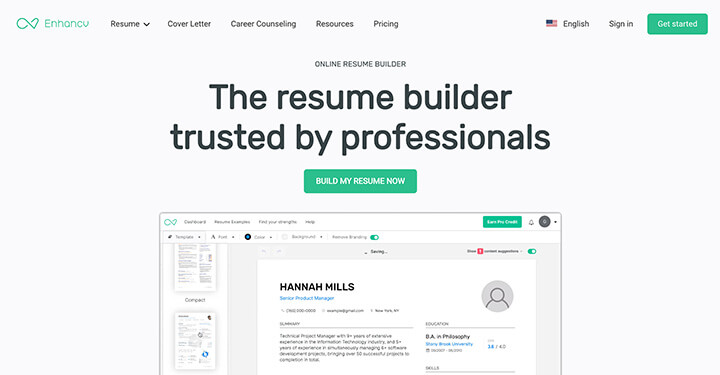 EnhanCV Resume Builder