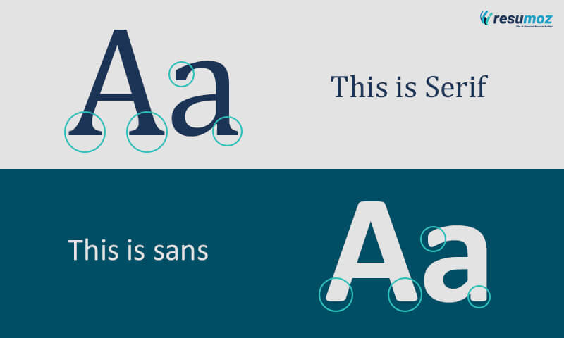 The difference between serif and sans resume fonts