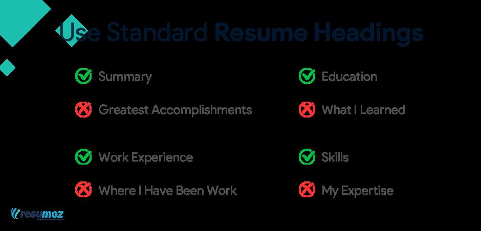 ats friendly resume headings
