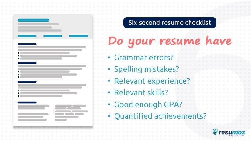 six second resume check list