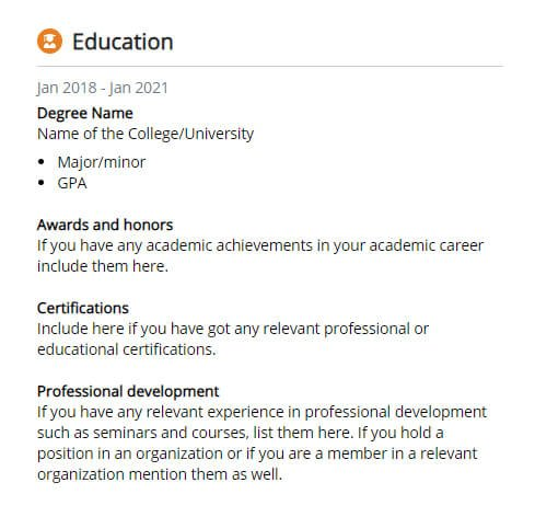 template of a resume education section