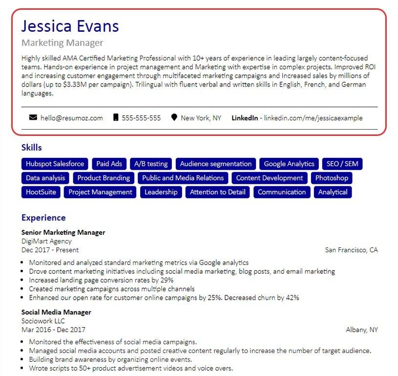example resume heading